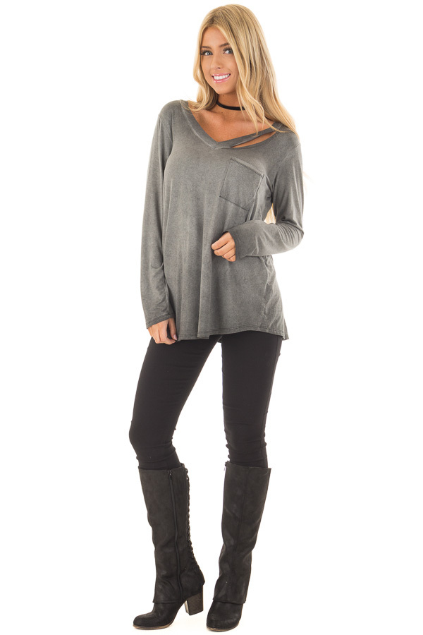 Charcoal Mineral Wash Top with Slit V Neckline front full body