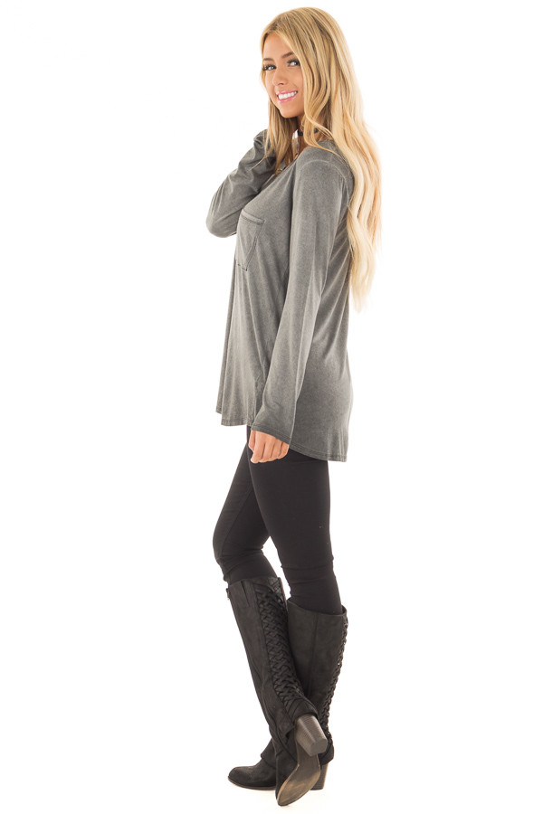 Charcoal Mineral Wash Top with Slit V Neckline side full body