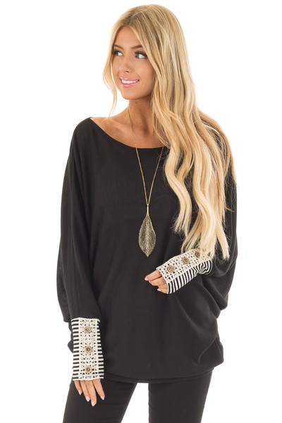 Black Top with Black Striped and Lace Detailed Cuffs front close