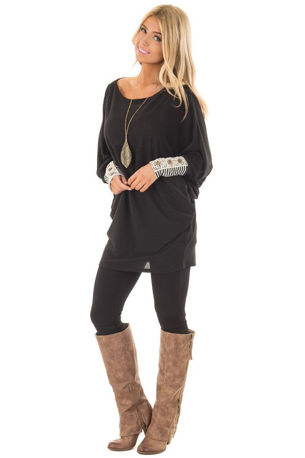 Black Top with Black Striped and Lace Detailed Cuffs front full body