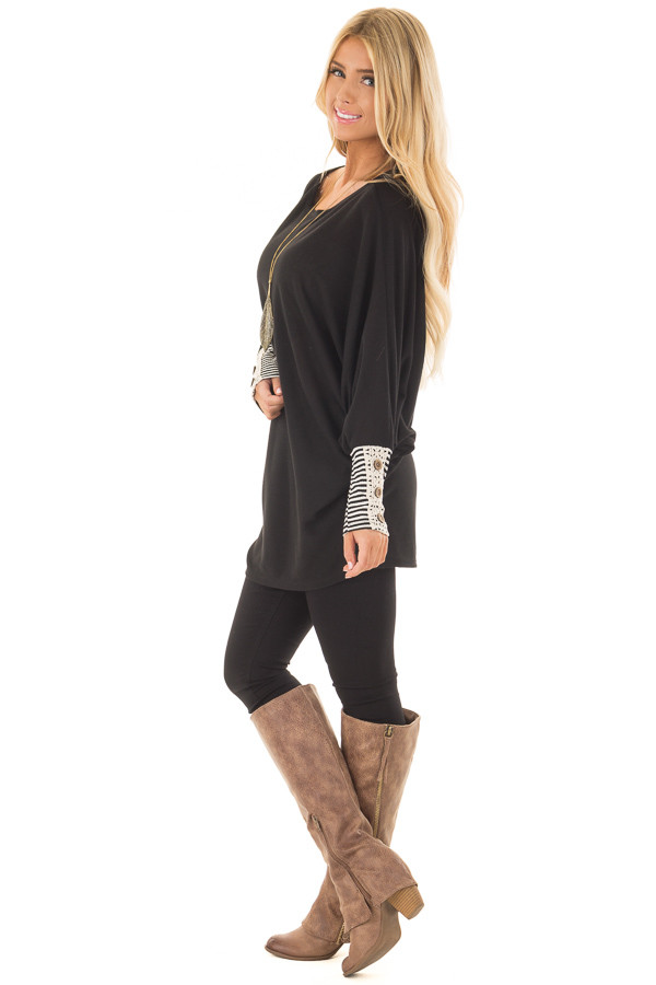 Black Top with Black Striped and Lace Detailed Cuffs side full body