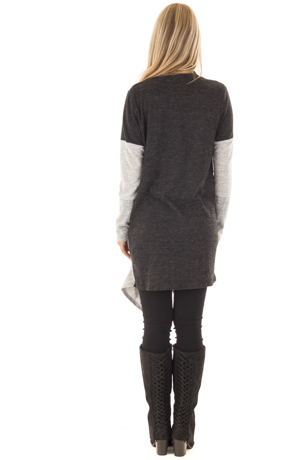 Charcoal and Heather Grey Color Block Cardigan back full body