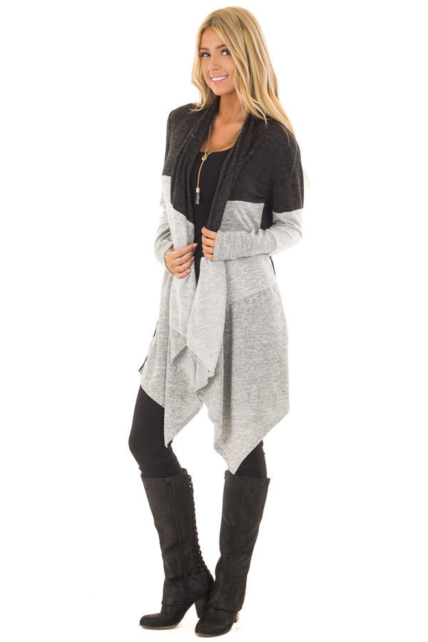 Charcoal and Heather Grey Color Block Cardigan front full body