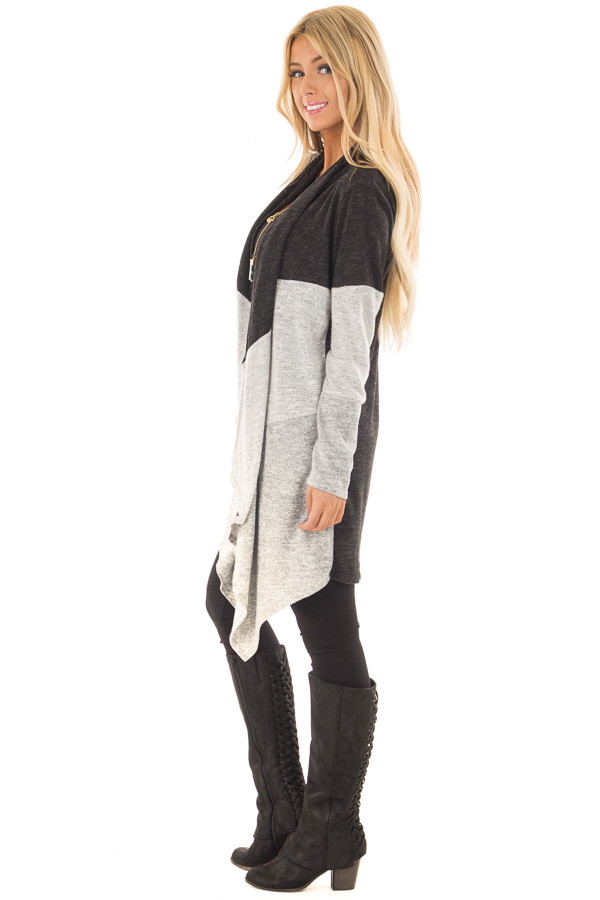 Charcoal and Heather Grey Color Block Cardigan side full body