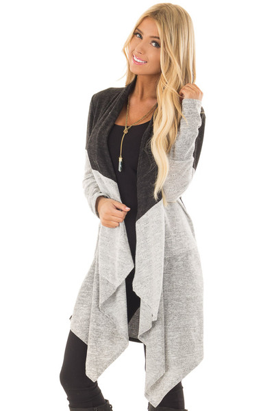 Charcoal and Heather Grey Color Block Cardigan front close up