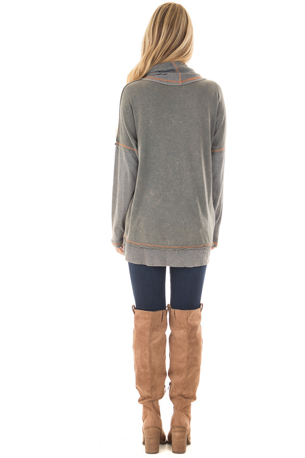 Charcoal Mineral Wash Cowl Neck Top back full body