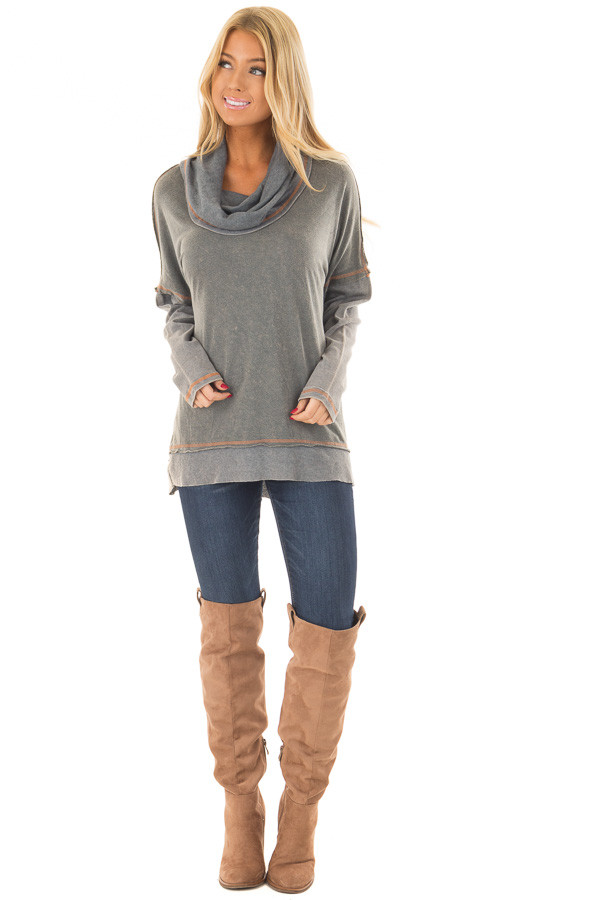 Charcoal Mineral Wash Cowl Neck Top front full body