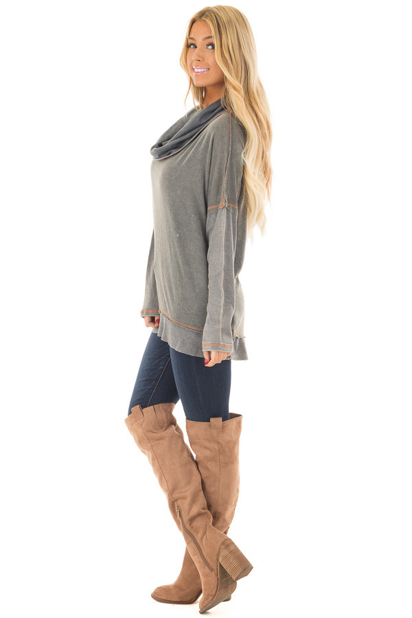 Charcoal Mineral Wash Cowl Neck Top side full body