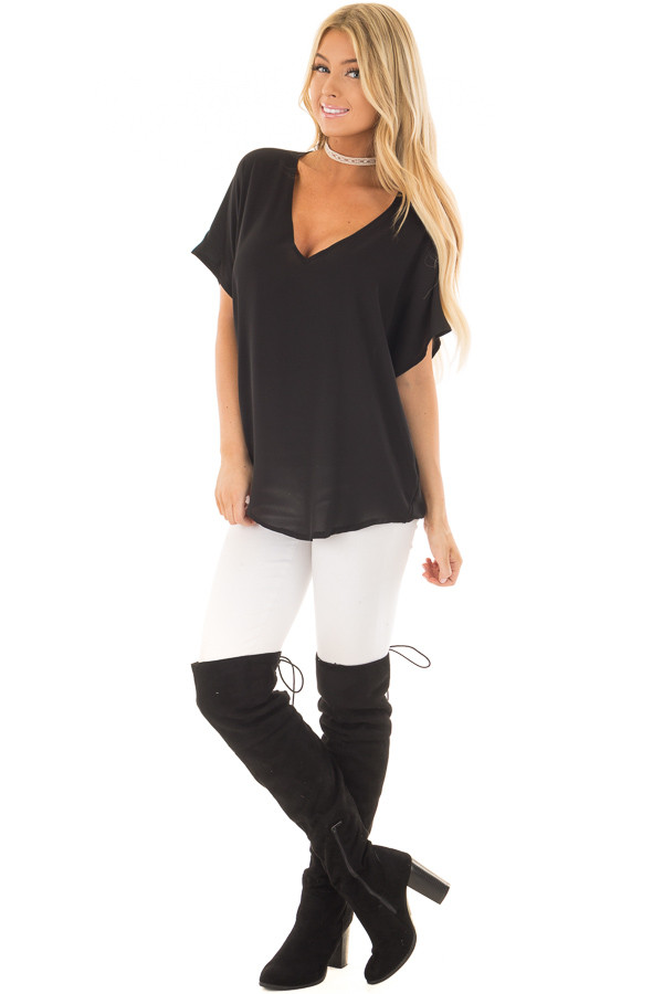 Black V Neck Basic Top front full body