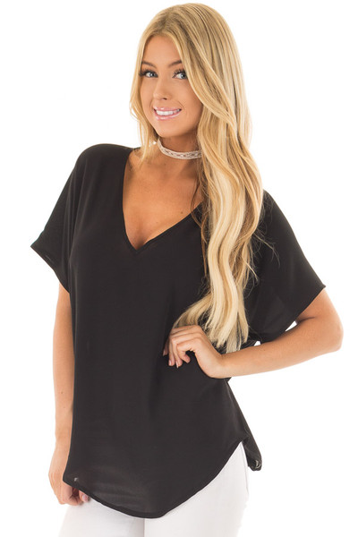 Black V Neck Basic Top front close up