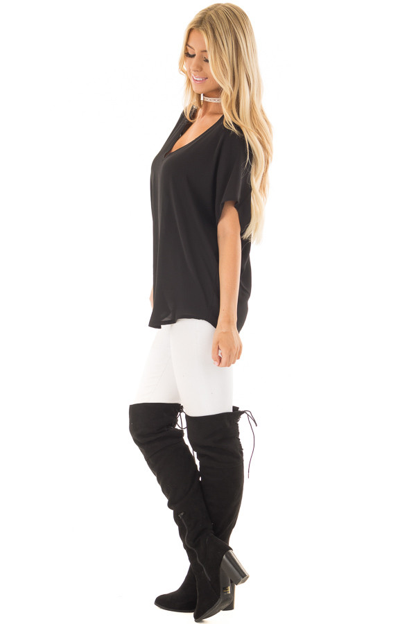 Black V Neck Basic Top side full body