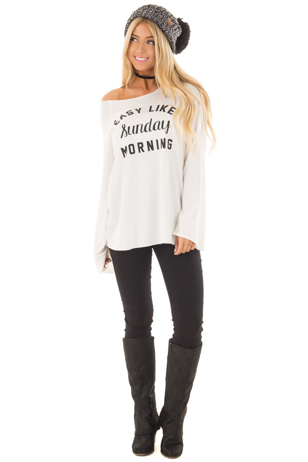 Off White 'Easy Like Sunday Morning' Comfy Top front full body