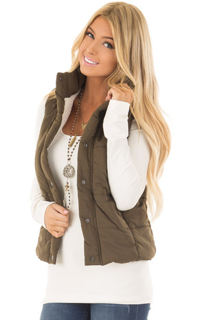 Olive Button Up Vest with Faux Fur Lining front close up