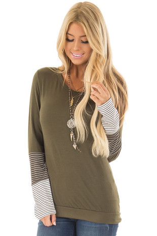 Olive Tee Shirt with Striped Color Blocks on Sleeves front close up