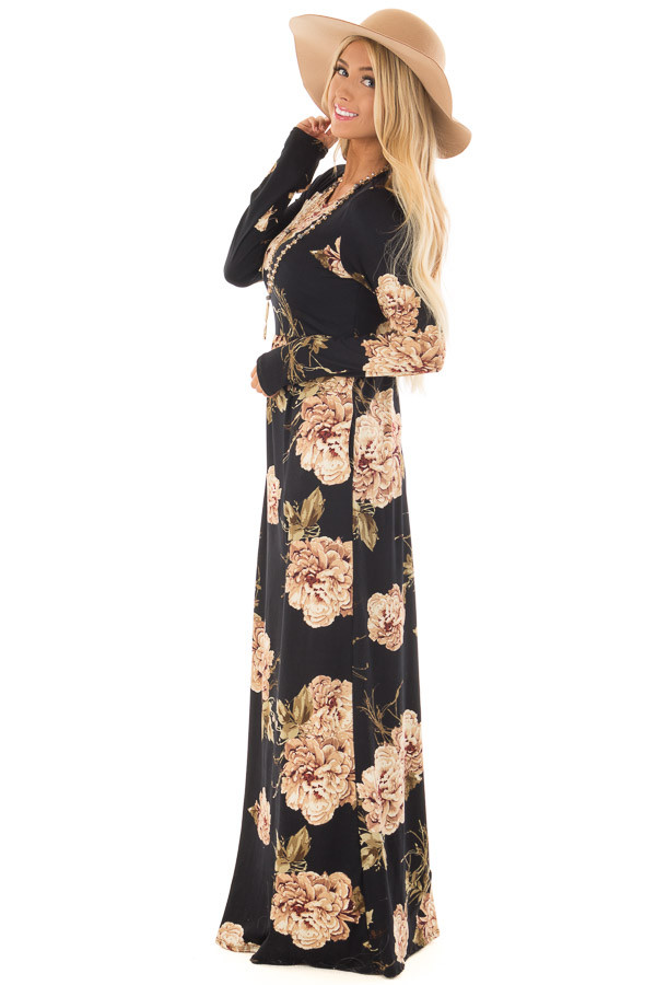 Black Floral Print Maxi Dress with Hidden Pockets side full body