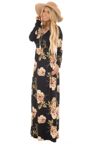 Black Floral Print Maxi Dress with Hidden Pockets front full body
