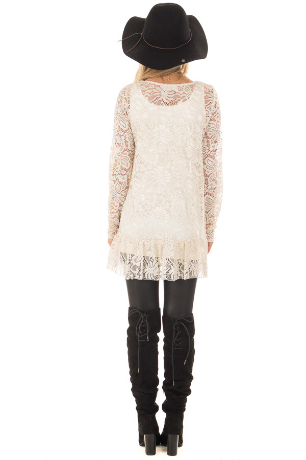 Nude Sheer Lace Top with Ruffled Hemline back full body
