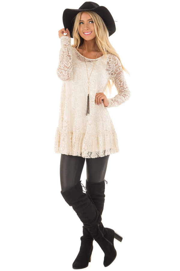 Nude Sheer Lace Top with Ruffled Hemline front full body
