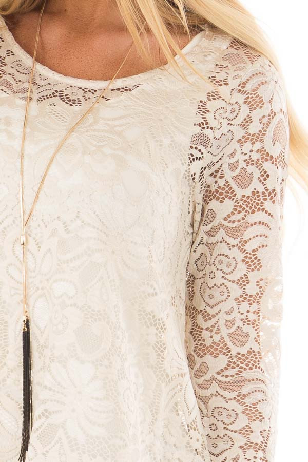 Nude Sheer Lace Top with Ruffled Hemline detail