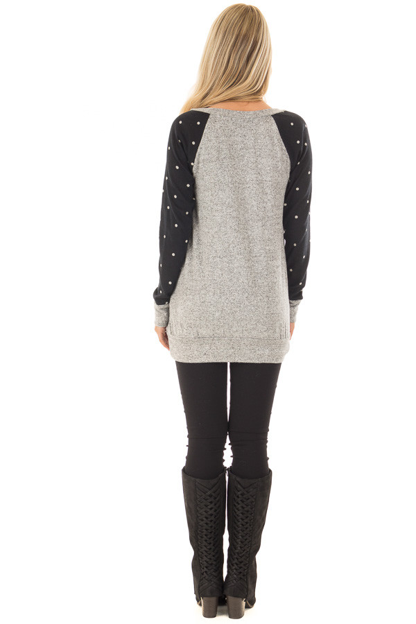 Heather Grey Top with Black and Ivory Polka Dot Detail back full body