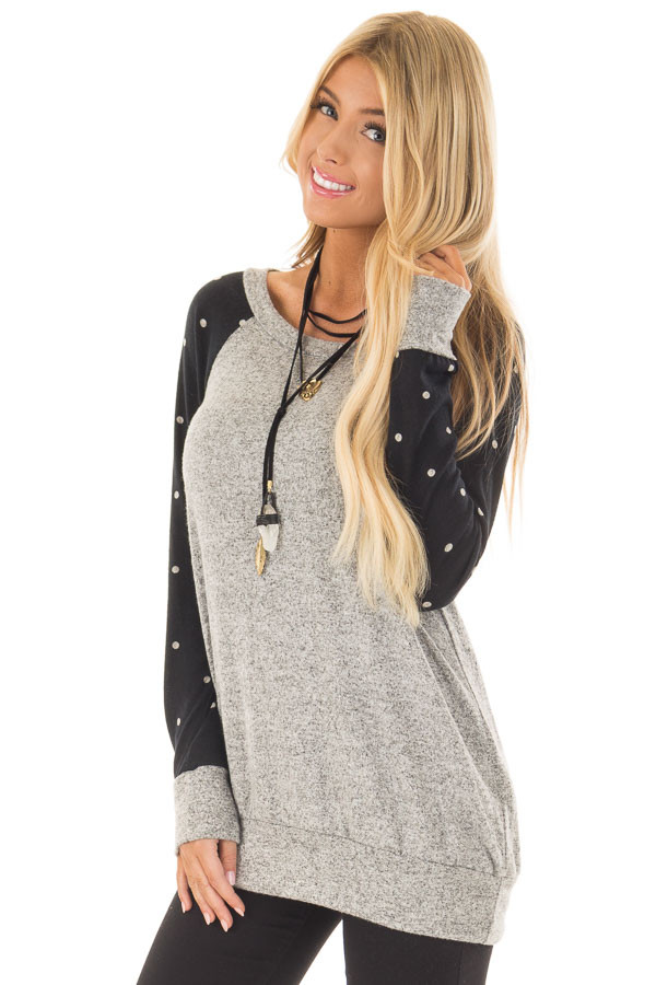 Heather Grey Top with Black and Ivory Polka Dot Detail front close up