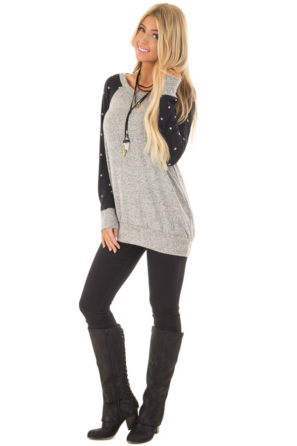 Heather Grey Top with Black and Ivory Polka Dot Detail front full body