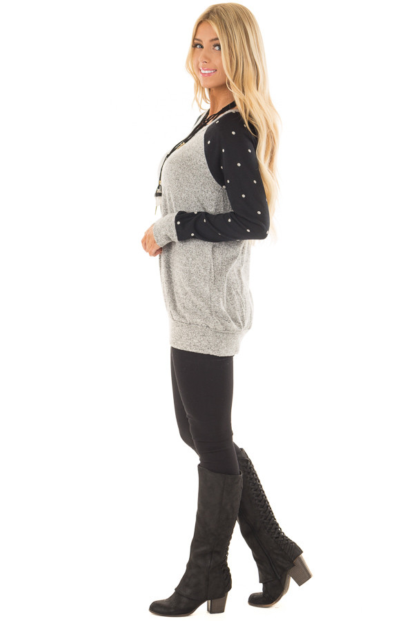 Heather Grey Top with Black and Ivory Polka Dot Detail side full body