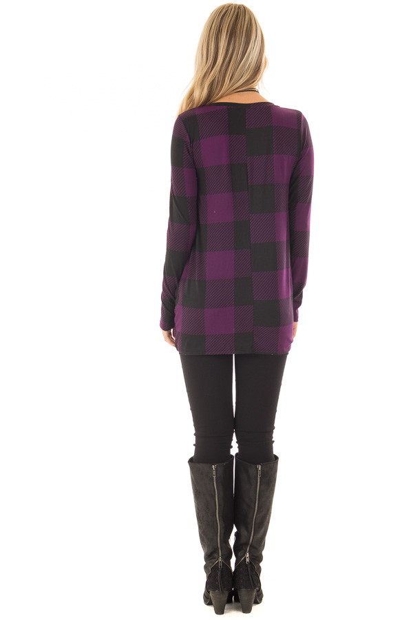 Dark Plum and Black Plaid Soft Tee Shirt with Twist Detail back full body