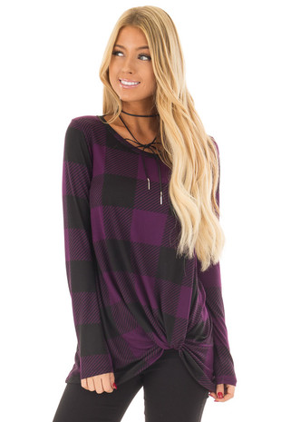 Dark Plum and Black Plaid Soft Tee Shirt with Twist Detail front close up