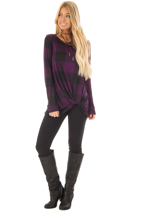 Dark Plum and Black Plaid Soft Tee Shirt with Twist Detail front full body