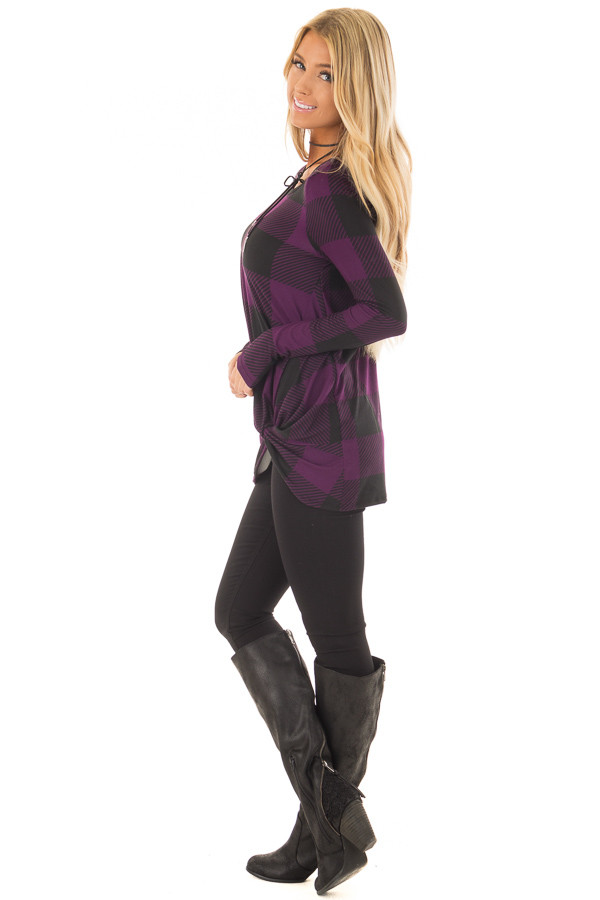 Dark Plum and Black Plaid Soft Tee Shirt with Twist Detail side full body