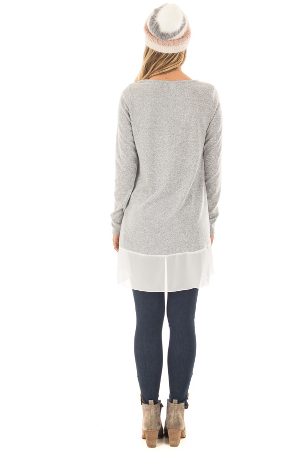 Heather Grey Tunic with Sheer Ivory Contrast and Pockets back full body