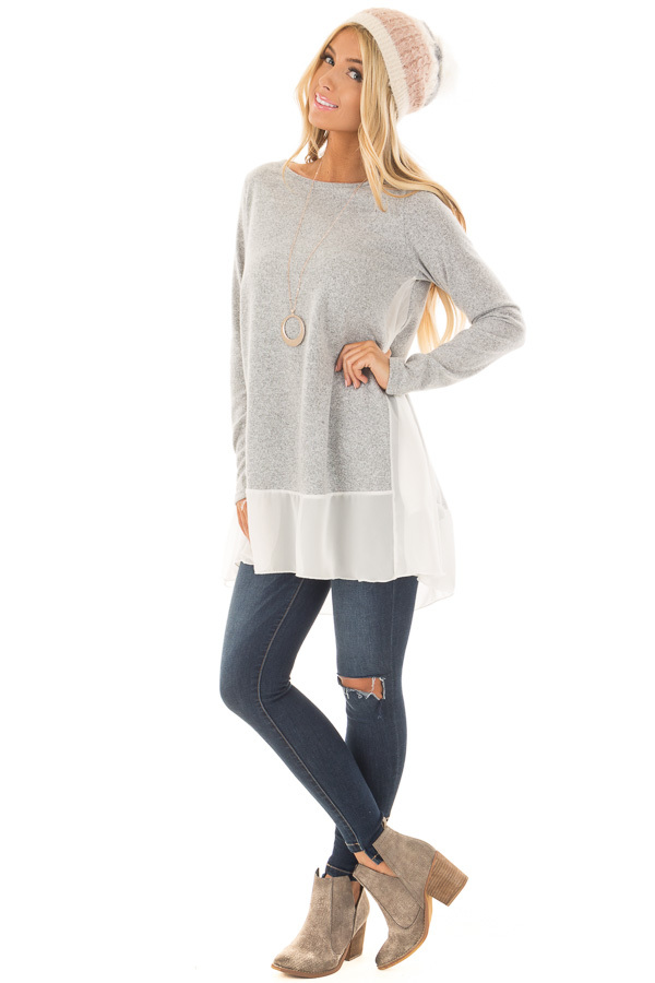 Heather Grey Tunic with Sheer Ivory Contrast and Pockets front full body