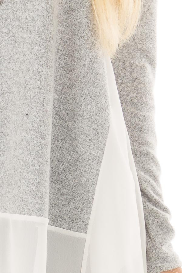 Heather Grey Tunic with Sheer Ivory Contrast and Pockets detail