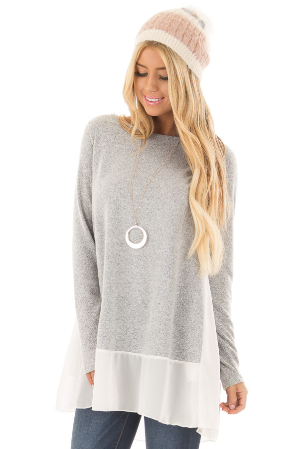 Heather Grey Tunic with Sheer Ivory Contrast and Pockets front close up