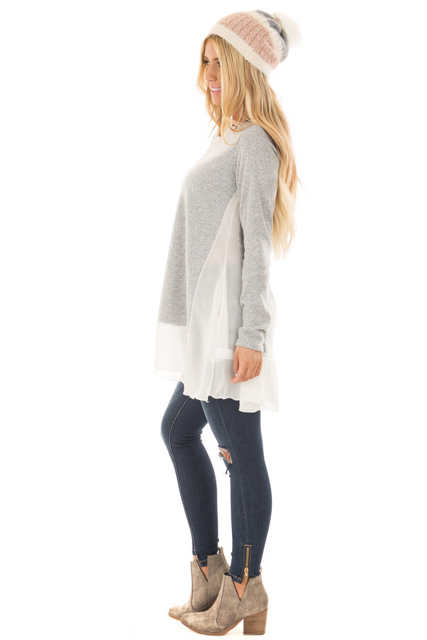 Heather Grey Tunic with Sheer Ivory Contrast and Pockets side full body