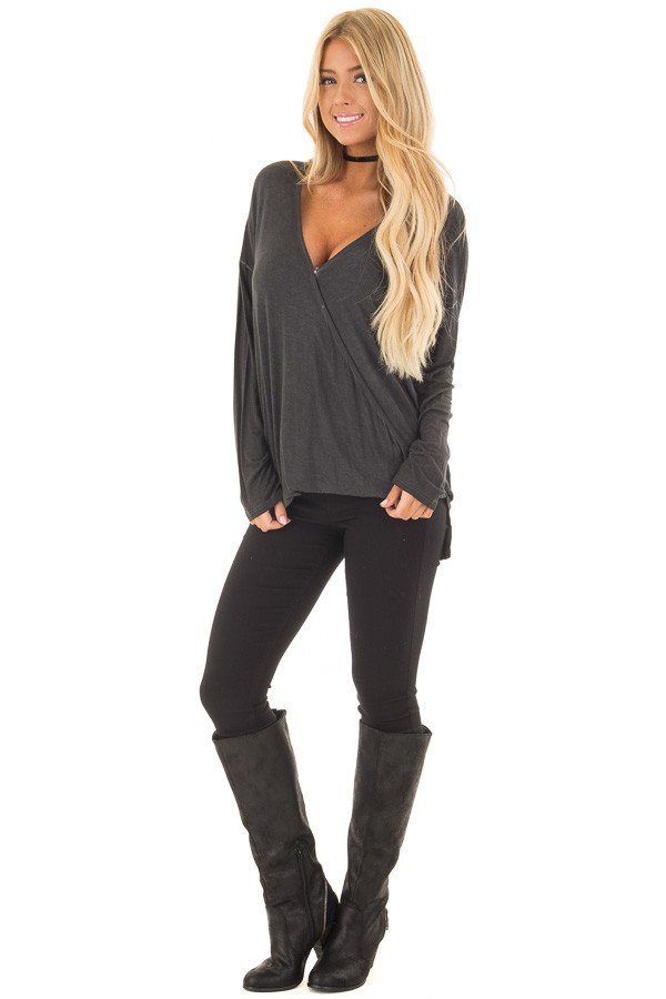 Ash Grey Mineral Wash Long Sleeve Surplice Top front full body