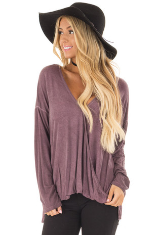 Plum Mineral Wash Long Sleeve Surplice Top front close up