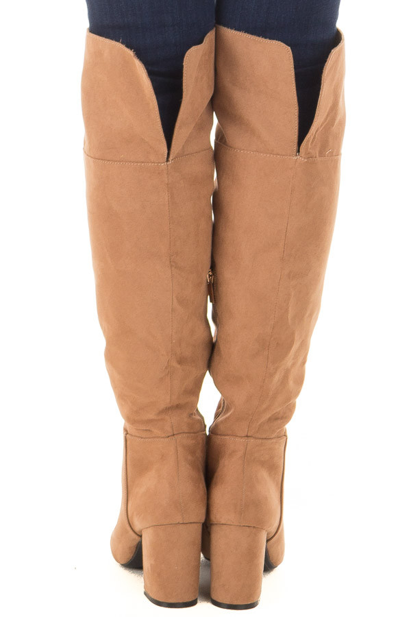 Camel Faux Suede Tall Boots with Chunky Heels back view