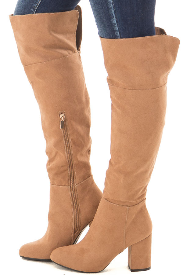Camel Faux Suede Tall Boots with Chunky Heels side view