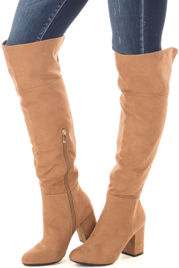 Camel Faux Suede Tall Boots with Chunky Heels front side view