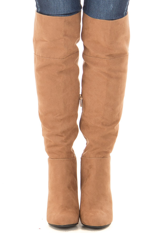 Camel Faux Suede Tall Boots with Chunky Heels front view