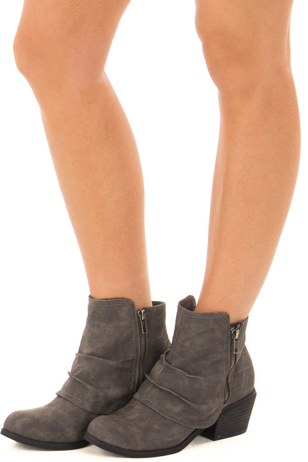 Charcoal Slouchy Bootie with Small Heel front side view