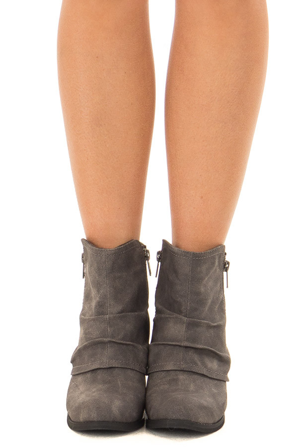 Charcoal Slouchy Bootie with Small Heel front view