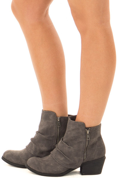 Charcoal Slouchy Bootie with Small Heel side view