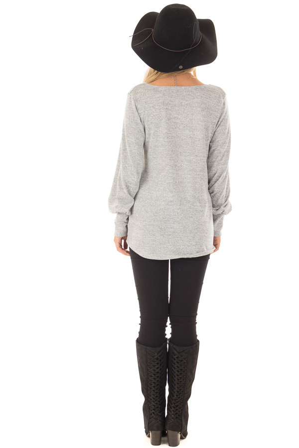 Heather Grey Crossover Wrap Top with Scrunched Side back full body