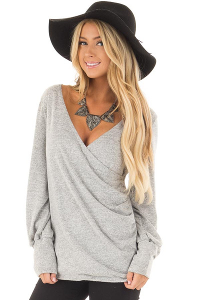 Heather Grey Crossover Wrap Top with Scrunched Side front close up