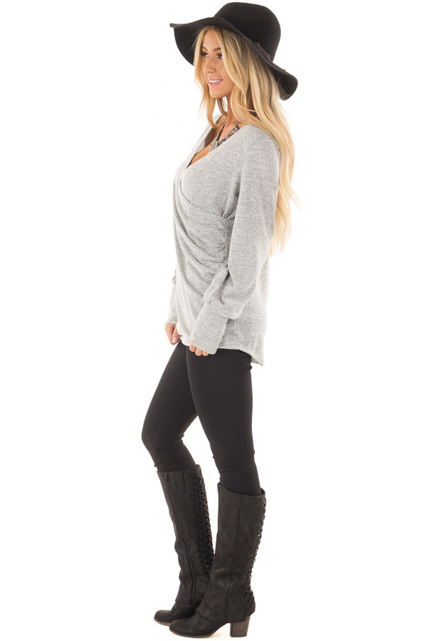 Heather Grey Crossover Wrap Top with Scrunched Side side full body