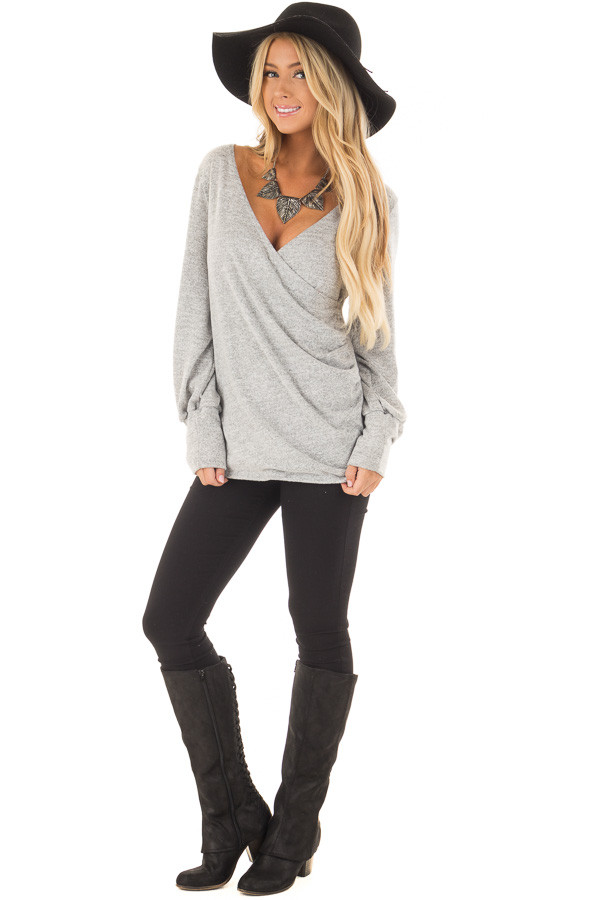 Heather Grey Crossover Wrap Top with Scrunched Side front full body