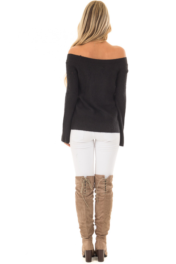 Black Off the Shoulder Long Sleeve Sweater back full body